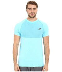 New Balance M4m Seamless Short Sleeve Top Bayside Heather Men's Short Sleeve Pullover Blue