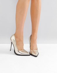 2570f8c51b Public Desire Cluster Gold Studded Court Shoes Gold