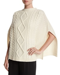 Red Valentino Cable Knit Wool Cape