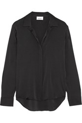 Dkny Stretch Silk Satin Shirt Black