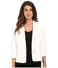 Ellen Tracy Hidden Zip Front Blazer Off White Women's Jacket