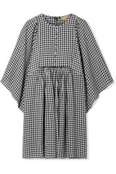 Michael Kors Collection Checked Crepe Mini Dress Black