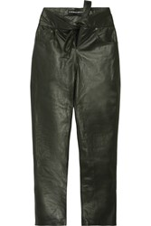 Y Project Tie Front Leather Straight Leg Pants Forest Green