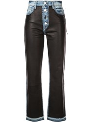 Amiri Leather Patch Jeans Blue