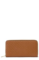 Women's Loewe Leather Zip Around Wallet Brown Tan