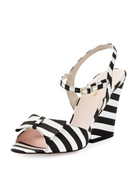 Imari Striped Grosgrain Sandal Black White Kate Spade New York