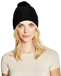 Tory Burch Cable Knit Beanie With Rabbit Fur Pom Pom Black