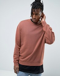 Asos Oversized Brushed Back Sweatshirt In Washed Orange Brown