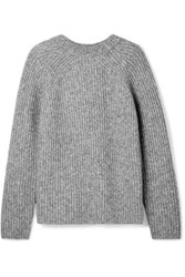 Helmut Lang Ghost Ribbed Knit Sweater Gray