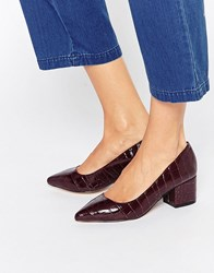 Carvela Knock Point Mid Heeled Shoes Wine Synthetic Red