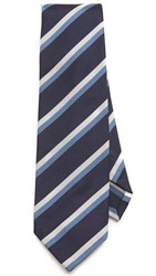 Thomas Mason Stripe Silk Tie Navy Blue