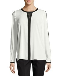 T Tahari Cassy Colorblock Silky Blouse Black White