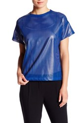Anne Klein Faux Leather Tee Blouse Blue