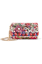 Dolce And Gabbana Escape Anna Embellished Printed Brocade Shoulder Bag Red