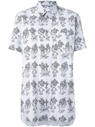 Comme Des Garcons Shirt Printed Short Sleeve Shirt Women Cotton S Blue