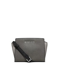 Michael Kors Selma Mini Color Block Leather Messenger Stgrey Pgrey Bl
