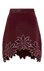 Rodarte Burgundy Hand Beaded Floral A Line Skirt Red