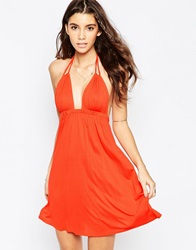 Asos Halter Jersey Mini Beach Dress Red