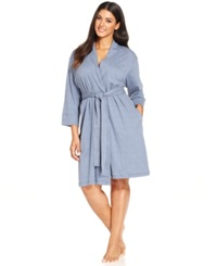 Jockey Plus Size Cotton Interlock Robe Blue Chambray
