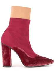 Lalo Pointed Toe Ankle Boots Red
