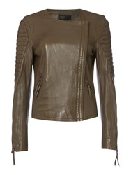 Label Lab Tribe Leather Biker Jacket Mink