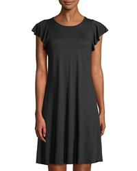 Three Dots Ruffle Sleeve T Shirt Dress Black