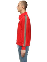 Burberry Zip Up Cotton Blend Track Jacket Bright Red
