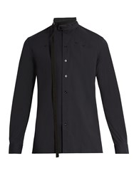 Raf Simons Belted Neck Cotton Blend Poplin Shirt Dark Navy