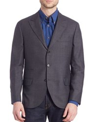 Brunello Cucinelli Solid Wool Blazer Charcoal