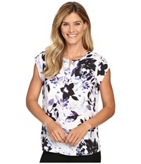 Ivanka Trump Printed Cdc Cap Sleeve Blouse Ivory Blush Women's Blouse Silver