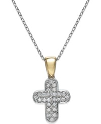 Macy's Diamond 1 10 Ct. T.W. Round Cut Cross Pendant In 14K White And Yellow Gold