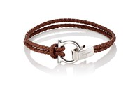 Salvatore Ferragamo Men's Double Band Bracelet Dark Brown