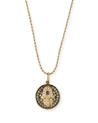 Sydney Evan Small Diamond Hamsa Necklace W Blue Sapphire Yellow Gold