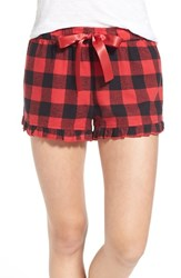 Junior Women's Bp. Undercover Plaid Flannel Sleep Shorts Red Beauty Holly Check