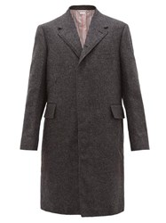 Thom Browne Single Breasted Brushed Woollen Twill Overcoat Grey