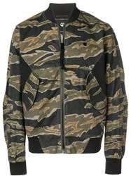 G Star Camouflage Print Bomber Jacket Green