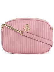 Roberto Cavalli Quilted Camera Bag Pink And Purple