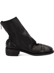 Guidi Distressed Effect Ankle Boots Black