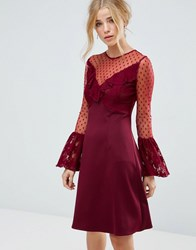 Elise Ryan A Line Mini Dress With Lace Frill And Fluted Long Sleeve Deep Wine Red