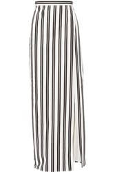 Balenciaga Striped Denim Wrap Skirt White