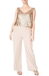Elvi Plus Size Women's Sequin Overlay Jumpsuit