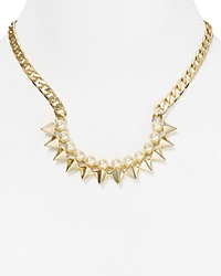 Rebecca Minkoff Spike Collar Necklace 18 Gold Pearl