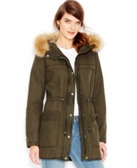 Levi's Faux Fur Hooded Sherpa Parka Jacket Army Green