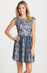 Women's Sean Collection Lace Fit And Flare Dress Navy