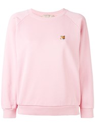 Maison Kitsune Embroidered Fox Sweatshirt Women Cotton L Pink Purple