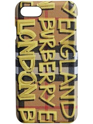 Burberry Graffiti Vintage Check Leather Iphone 8 Case Nude And Neutrals