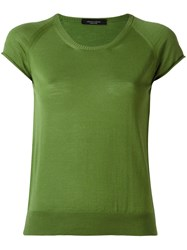 Roberto Collina Round Neck Knitted T Shirt Green