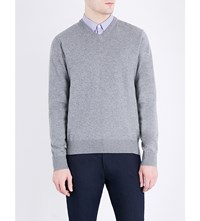 Armani Jeans V Neck Knitted Jumper Grey