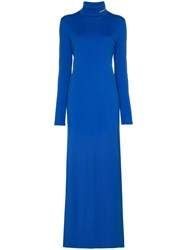 Calvin Klein 205W39nyc High Neck Fitted Maxi Dress Blue