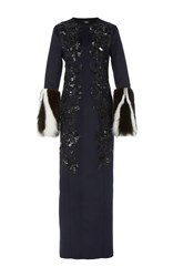 J. Mendel Embroidered Coat Navy